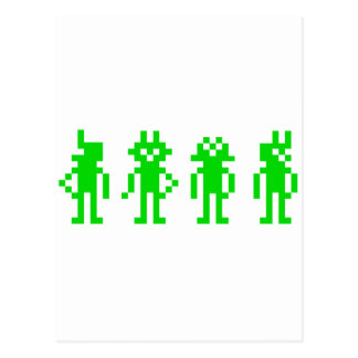 Cartão Postal green pixel robôs
