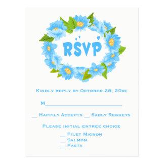 Cartão Postal Grinalda azul floral do casamento da flor de