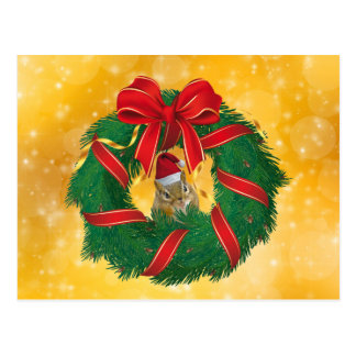 Cartão Postal Grinalda bonito do Natal do Chipmunk
