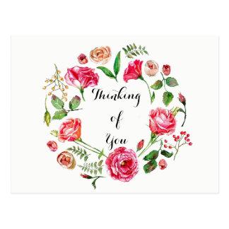 Cartão Postal Grinalda cor-de-rosa do primavera que pensa de