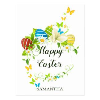 Cartão Postal Grinalda das flores e das borboletas do primavera