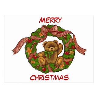 Cartão Postal Grinalda do urso de ursinho do Natal