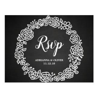 Cartão Postal Grinalda floral do quadro do vintage que Wedding