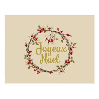 Cartão Postal Grinalda rústica francesa do Natal de Joyeux Noel