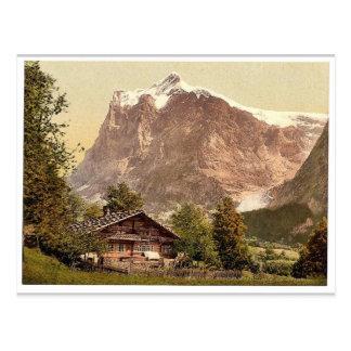 Cartão Postal Grindelwald, chalé e montagem Wetterhorn, Bernese