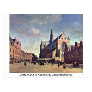 Cartão Postal Grote Markt em Haarlem por Gerrit Berckheyde
