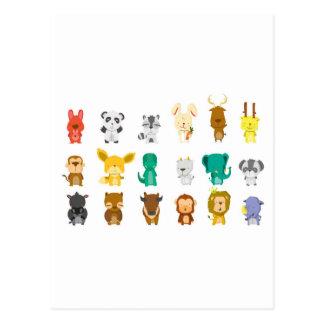 Cartão Postal Grupo animal bonito