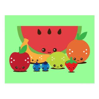 Cartão Postal Grupo da fruta de Kawaii