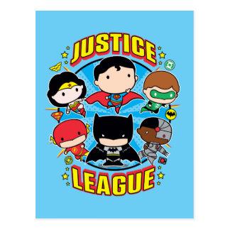 Cartão Postal Grupo da liga de justiça de Chibi