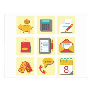Cartão Postal grupo de ícones lisos