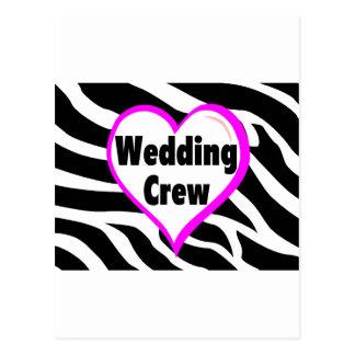 Cartão Postal Grupo do casamento (impressão da zebra do coração)