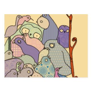 Cartão Postal grupo do mosaico azul do matiz dos pássaros
