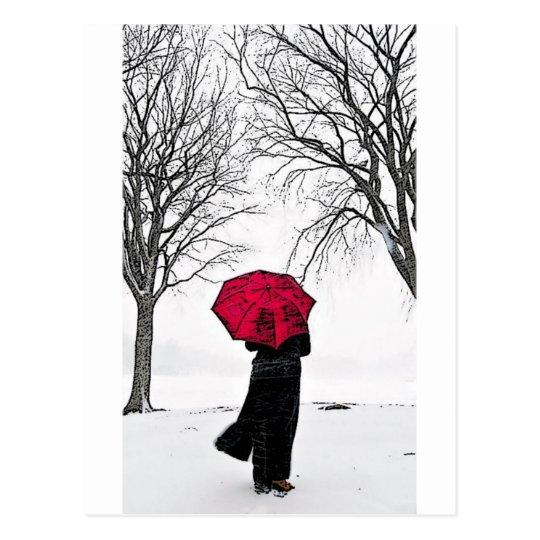 Cartão Postal Guarda Chuva vermelho (Red umbrella)