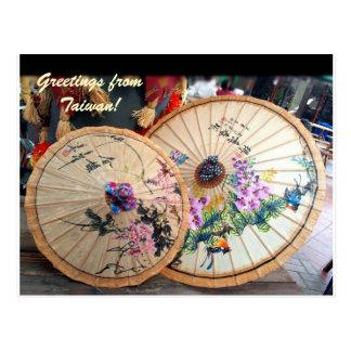 Cartão Postal Guarda-chuvas de bambu bonitos de Formosa