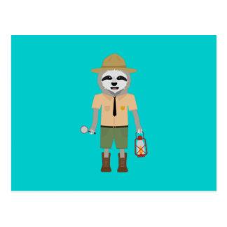Cartão Postal Guarda florestal da preguiça com lâmpada Z2sdz