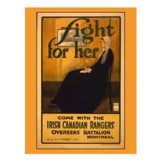 Cartão Postal Guardas florestais canadenses irlandesas, após a