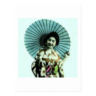 Cartão Postal Gueixa do vintage e seu parasol Japão velho