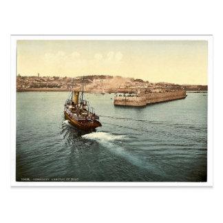 Cartão Postal Guernsey, o porto de St Peter, chegada dos barcos,
