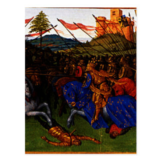 Cartão Postal Guerras de Charlemagne por Jean Fouquet