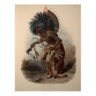 Cartão Postal Guerreiro de Karl Bodmer-Minatarre no traje da