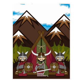 Cartão Postal Guerreiro de Viking dos desenhos animados