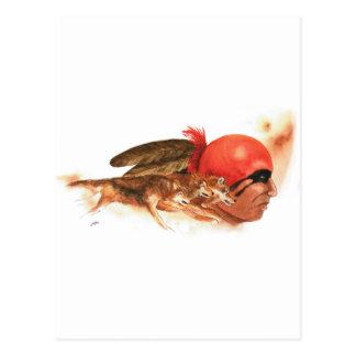 Cartão Postal Guerreiro indiano Cherokee do clã do lobo do