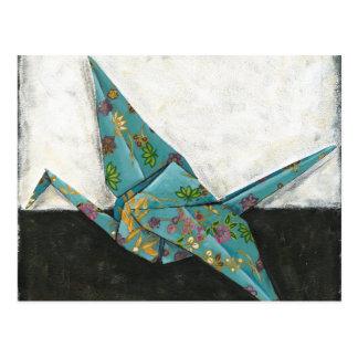 Cartão Postal Guindaste de Origami com designs florais