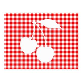 Cartão Postal Guingão branco do vermelho de cerejas