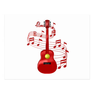 Cartão Postal Guitarra acústica vermelha com notas da música