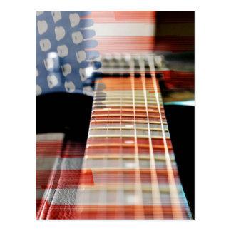 Cartão Postal Guitarra elétrica da guitarra da bandeira dos EUA