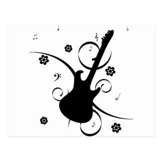 Cartão Postal Guitarra elétrica preta com teste padrão floral