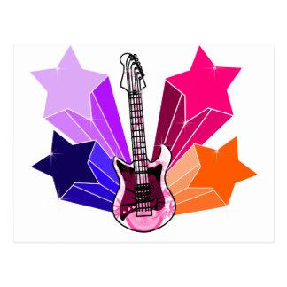 Cartão Postal Guitarra golpeada estrela