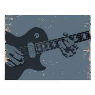 Cartão Postal Guitarrista rústico azul & preto