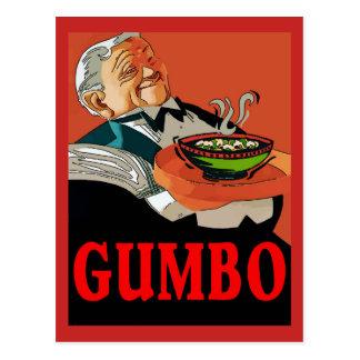 Cartão Postal Gumbo, garçom do vintage