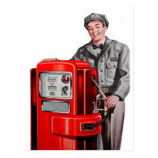 Cartão Postal GUS retro da estação de gasolina do gás do kitsch