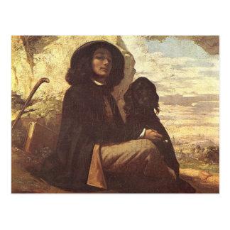 Cartão Postal Gustave Courbet - Auto-retrato com um cão preto