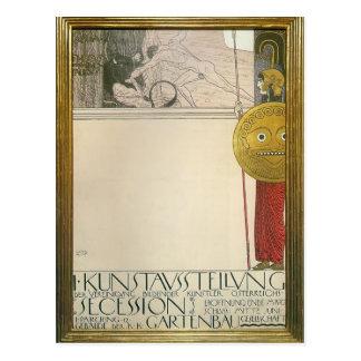 Cartão Postal Gustavo Klimt: Poster para a primeira exposição de