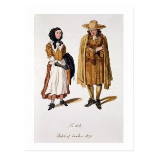 Cartão Postal Hábitos dos quacres, 1675 (gravura colorida)