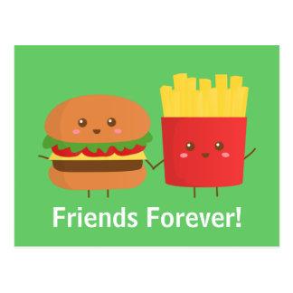 Cartão Postal Hamburguer e fritadas bonitos e felizes, amigos