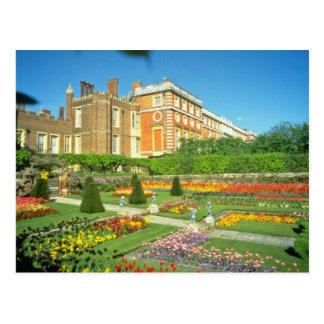 Cartão Postal Hampton Court vermelho, flores de Surrey,