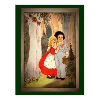 Cartão Postal Hansel e Gretel na borda da floresta