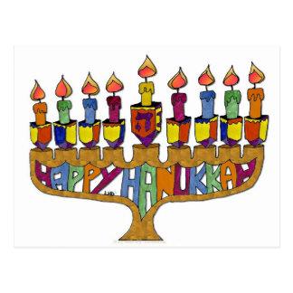 Cartão Postal Hanukkah feliz Dreidels Menorah