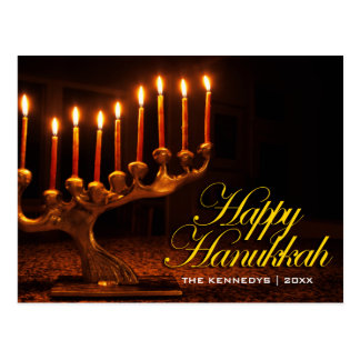 Cartão Postal Hanukkah feliz - iluminado nove velas Menorah