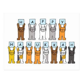 Cartão Postal Hanukkah feliz para amantes do gato