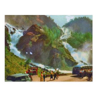 Cartão Postal Hardanger, cachoeira de Latefoss, Noruega, vintage