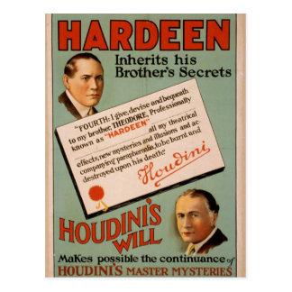 """Cartão Postal Hardeen, de """"teatro do vintage da vontade Houdini"""""""