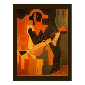 Cartão Postal Harlequin com a guitarra por Juan Gris