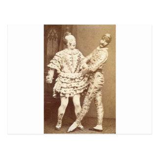 Cartão Postal Harlequin & palhaço do vintage