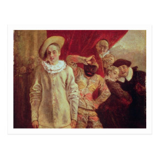 Cartão Postal Harlequin, Pierrot e Scapin, atores de COM