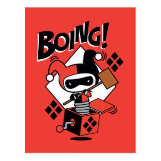 Cartão Postal Harley-Quinn-Em-UM-Box de Chibi com martelo